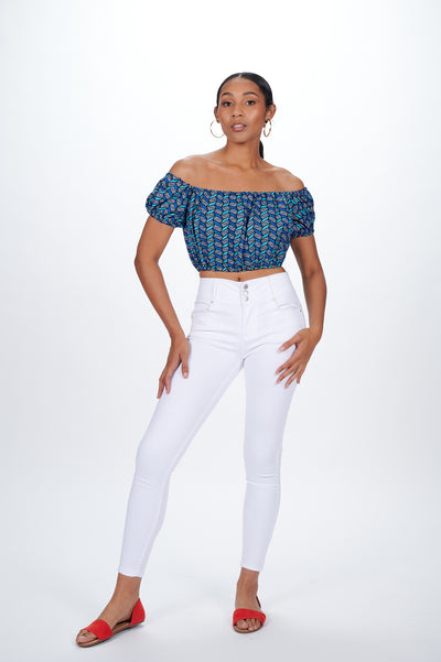 Jobi African print Off Shoulder Cropped Top