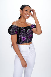 Monifa African print Off Shoulder Cropped Top