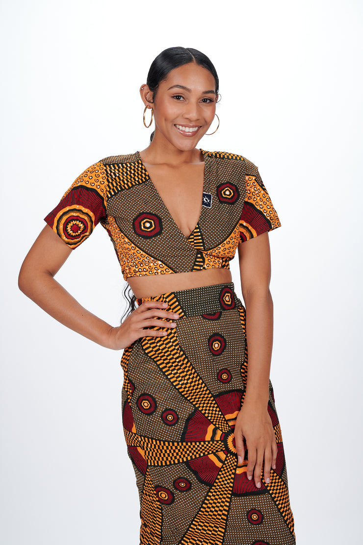 Alake African print Wrap Cropped Top