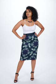Tani African Print Pencil Skirt