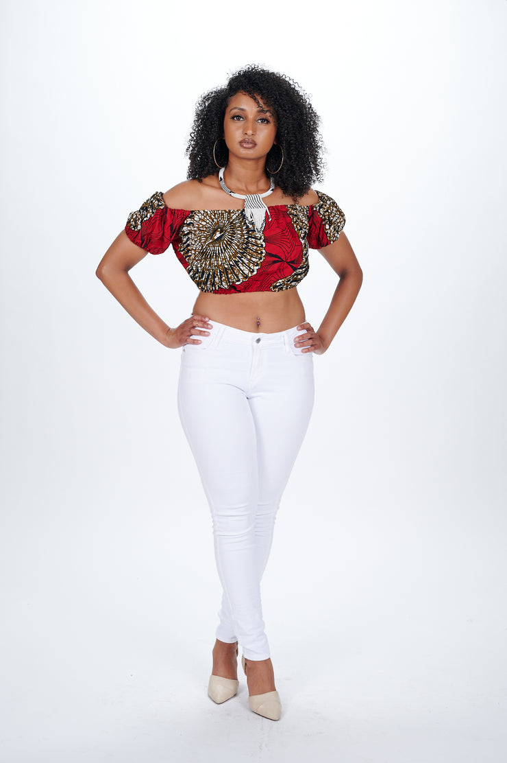 Oyinda African print Off Shoulder Cropped Top