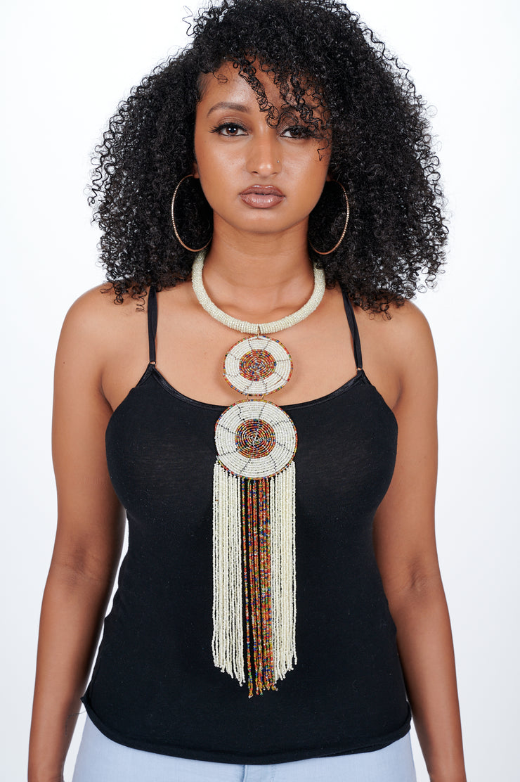 Statement Beaded Long Necklace White