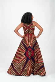 Moremi African Print Dress (Red)
