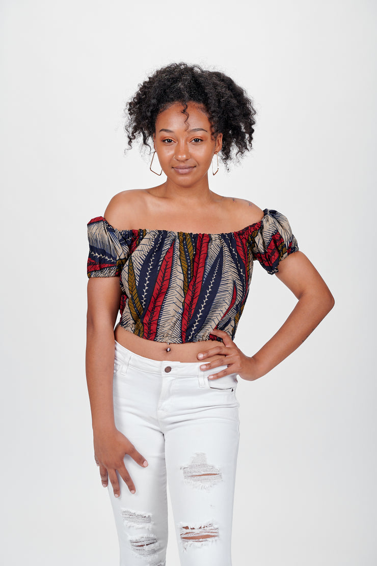 Olayi African print Off Shoulder Cropped Top