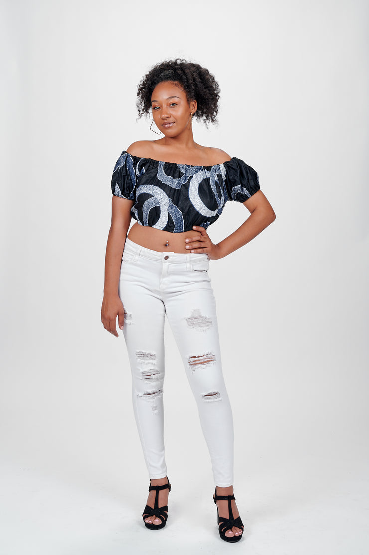 Tele African print Off Shoulder Cropped Top