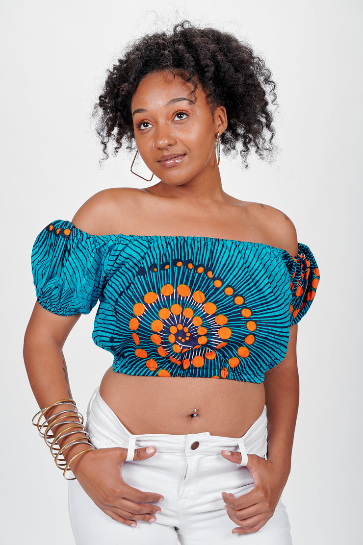 Adunni African print Off Shoulder Cropped Top