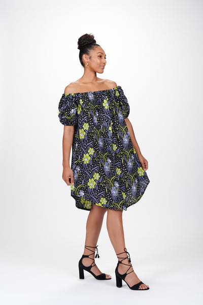 Lupita Off Shoulder African Print Dress