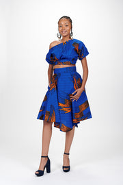 Oreola African Print Off Shoulder Cropped Top