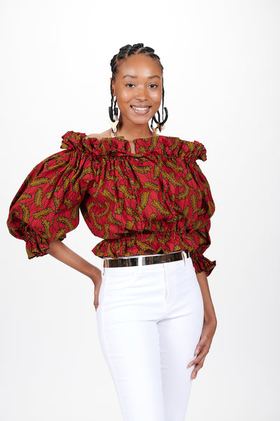 Lesedi African print Off Shoulder Cropped Top