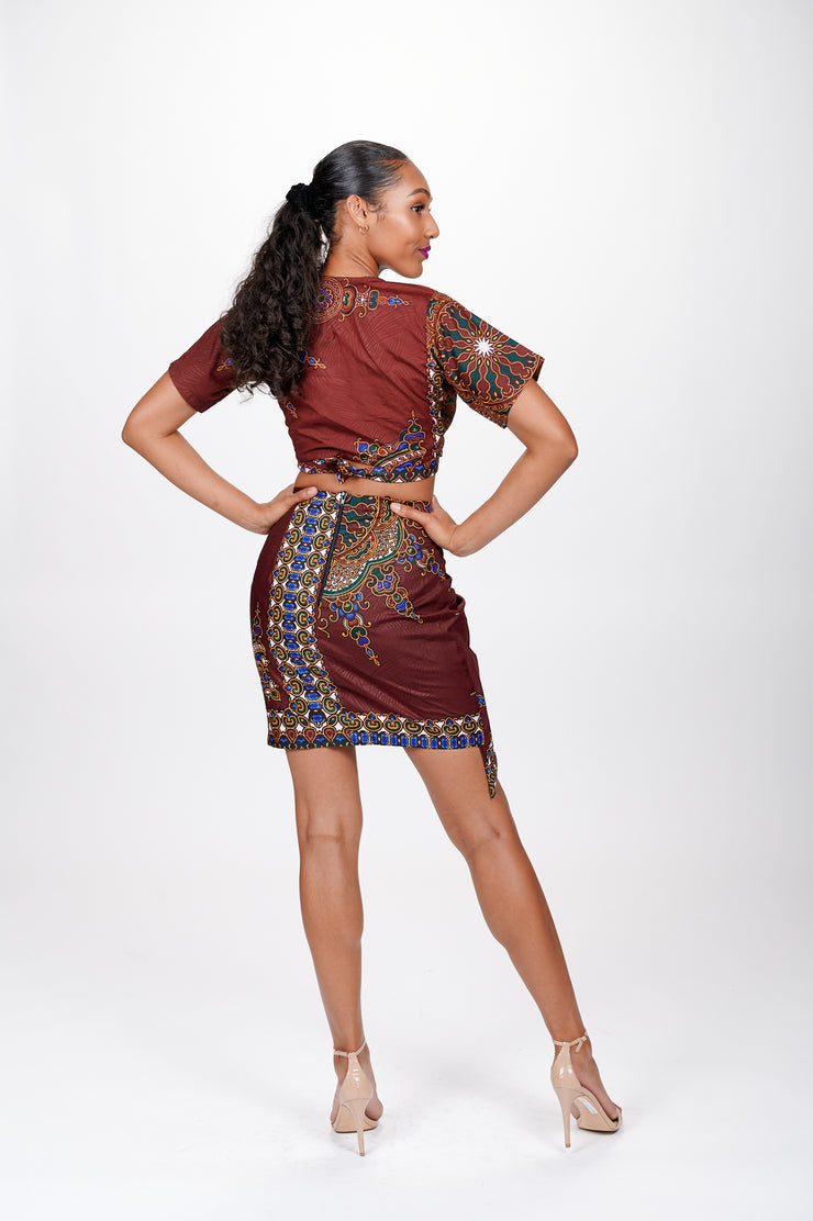 Sadiya African print Wrap Cropped Top