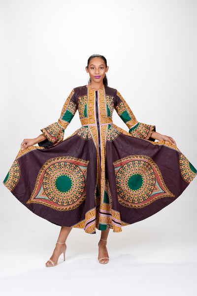 Aziza African Print Jacket Dress