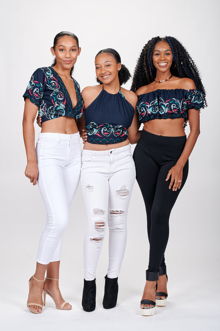 Zeena African print Off Shoulder Cropped Top