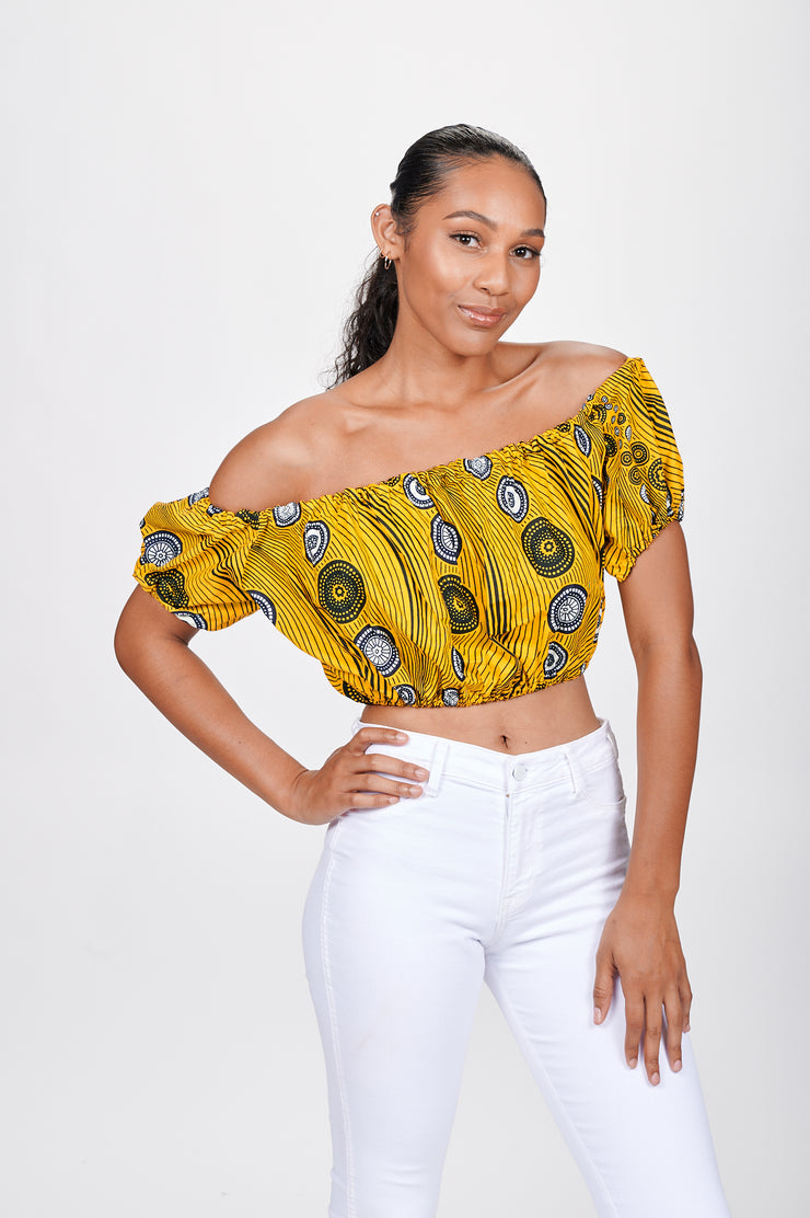 Modibo African print Off Shoulder Cropped Top