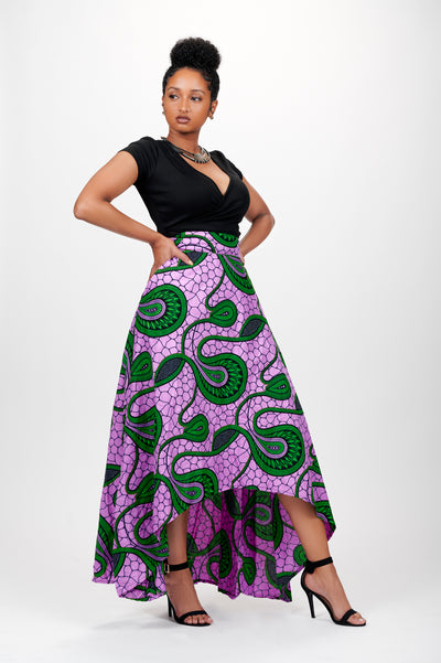 Zawadi high-low African Print Skirt