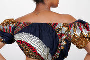 Amare African print Off Shoulder Cropped Top