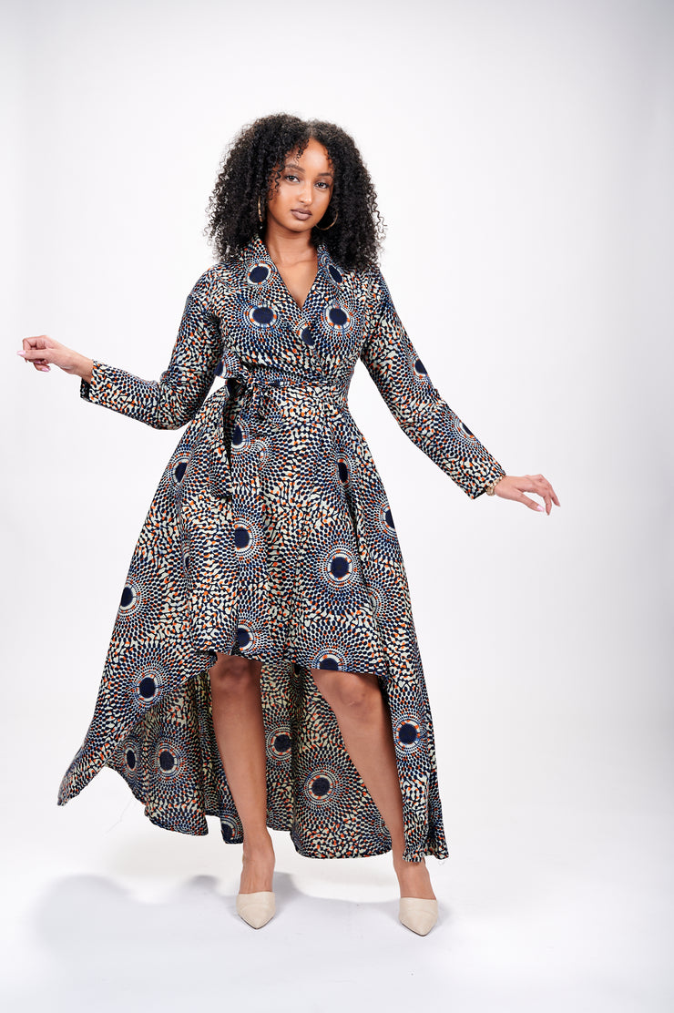Peju African Print Wrap Dress