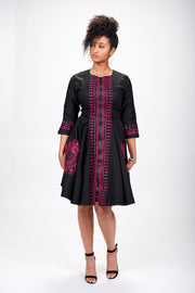 Defela African Embroidered Jacket Dress