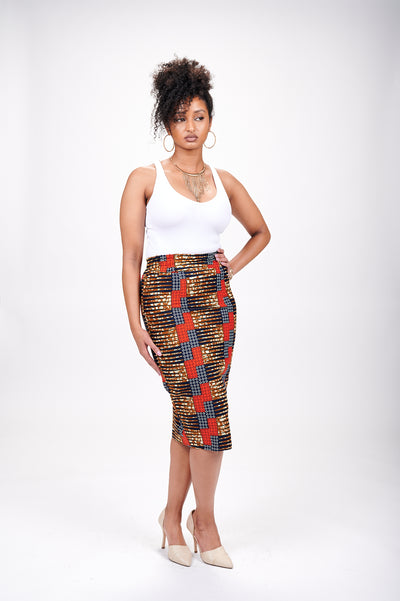 Wathoni African Print Pencil Skirt