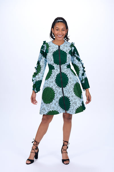 Nana African Print Jacket Dress (Green)