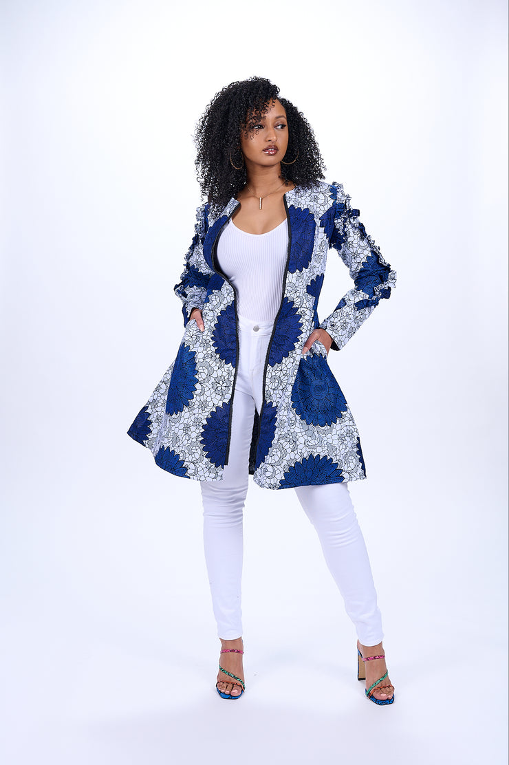 Nana African Print Jacket Dress (Blue)