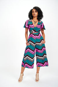 Foye African Print Culotte Jumpsuit