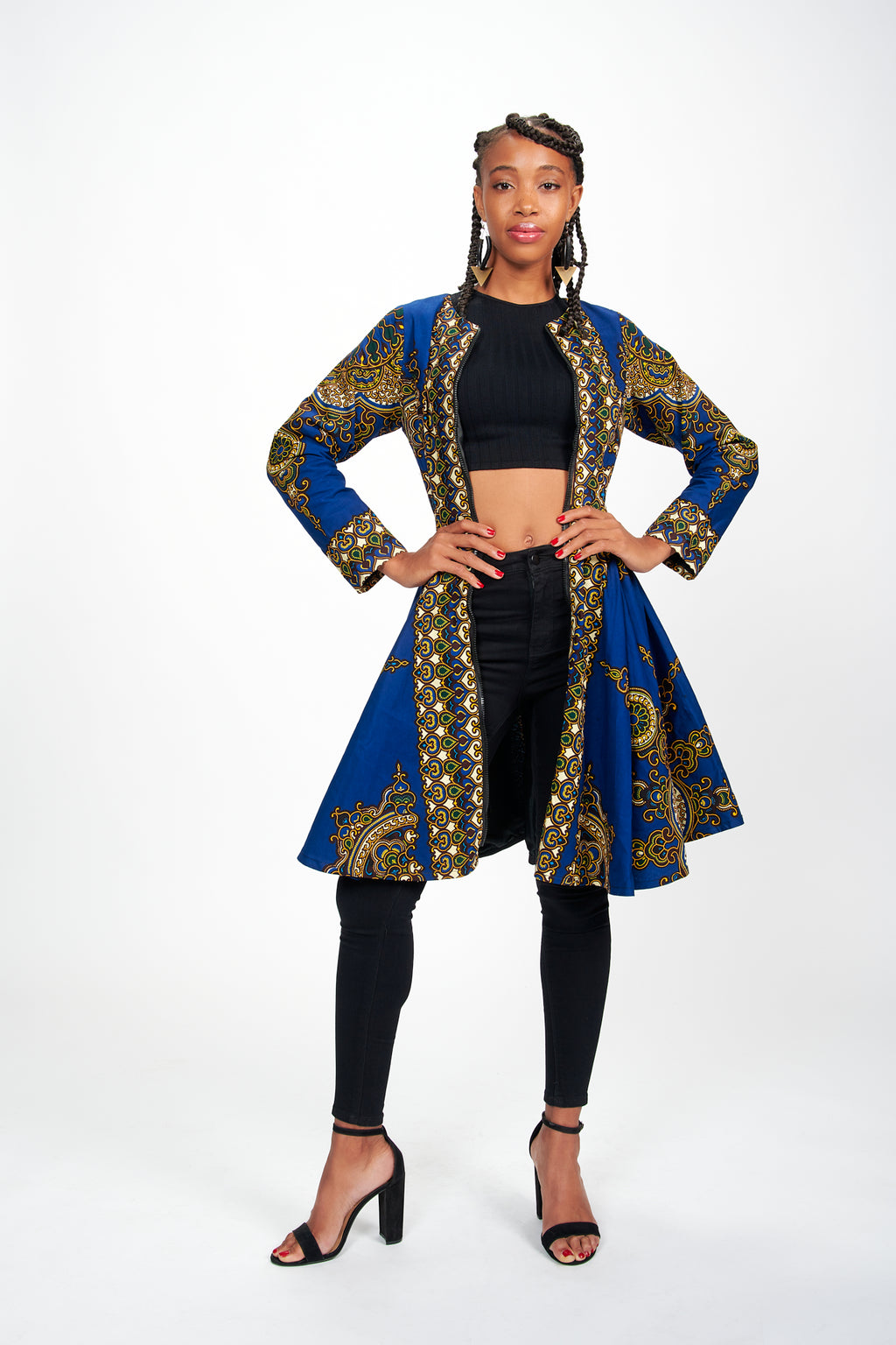 Lami African Print Jacket Dress (Blue)