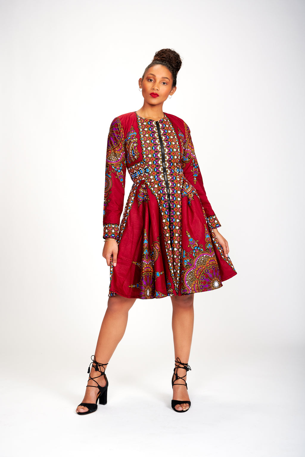 Lami African Print Jacket Dress (Wine)