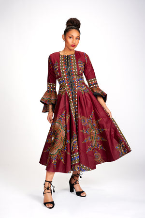 Oriki African Print Jacket Dress (Wine)