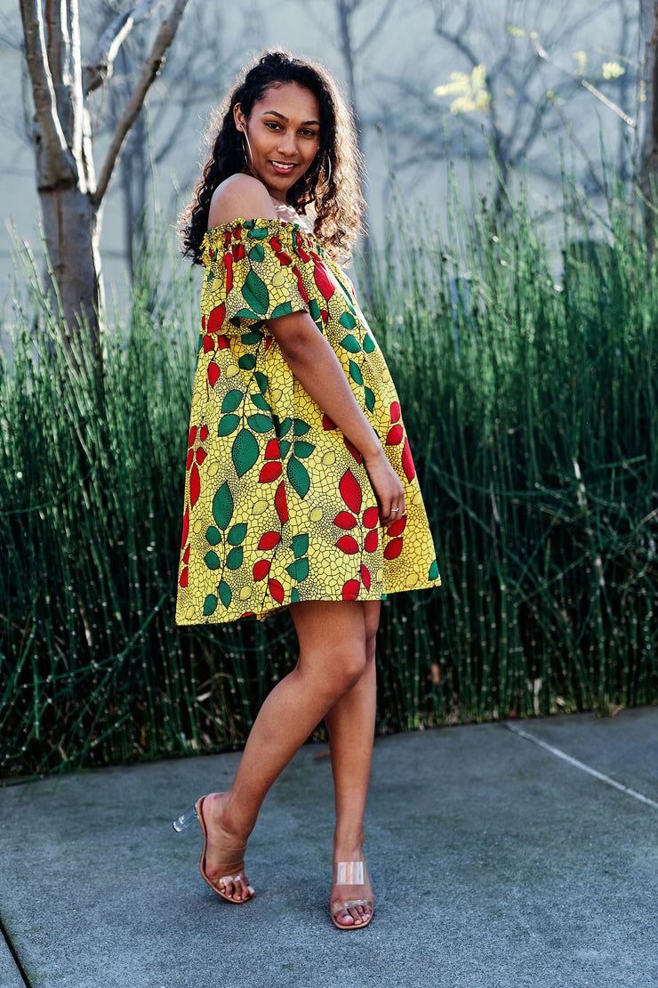 Mobo Off Shoulder African Print Dress