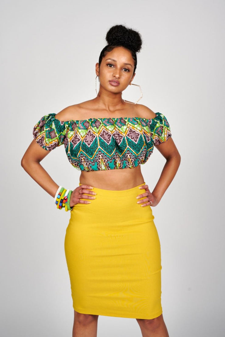 Nade African print Off Shoulder Cropped Top