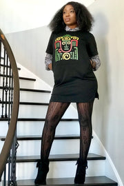 Tribal Tee Dress (Black)