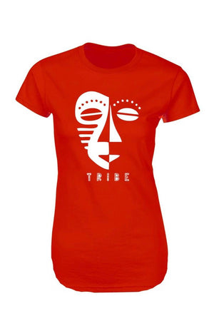 Tribal Faces Tee Dress (Red& White)