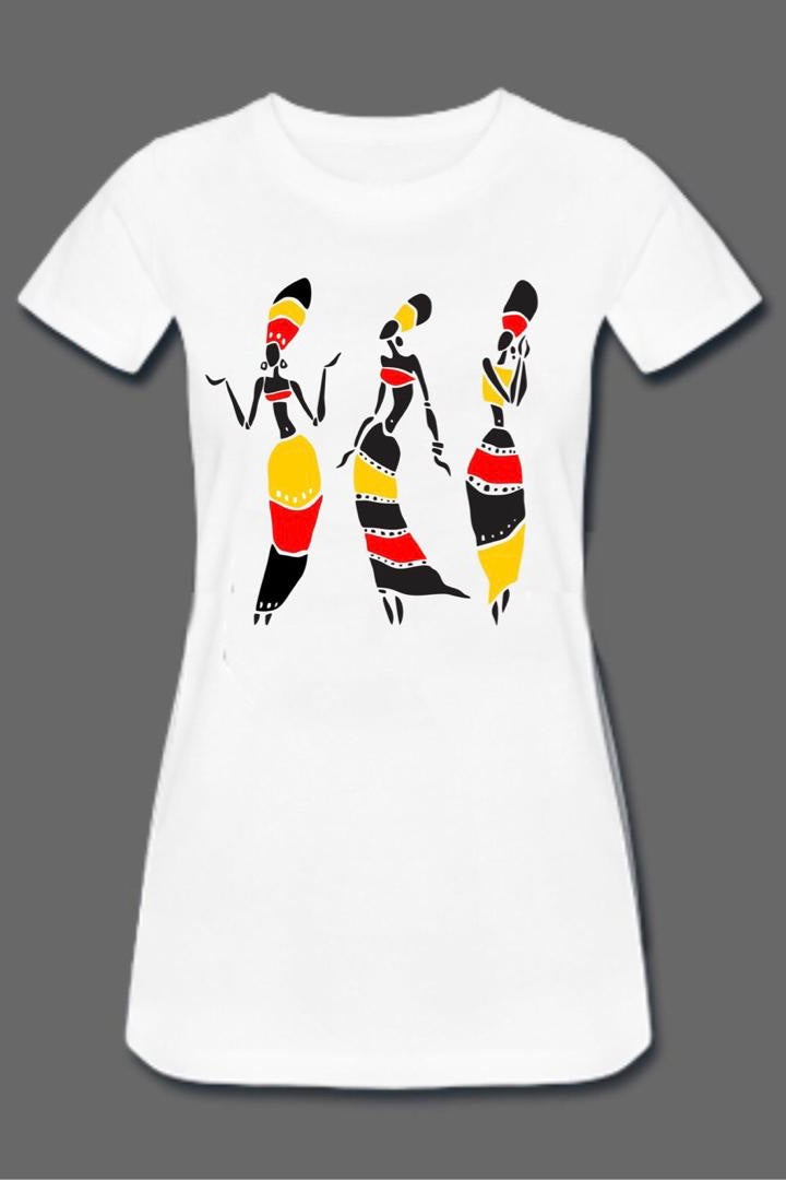 Tribal Dancing Ladies Tee Dress (White)
