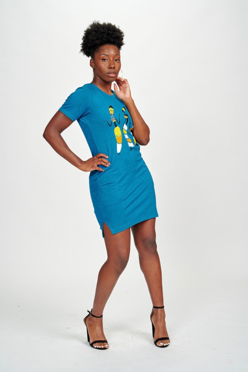 Tribal Dancing Ladies Tee Dress (Blue)