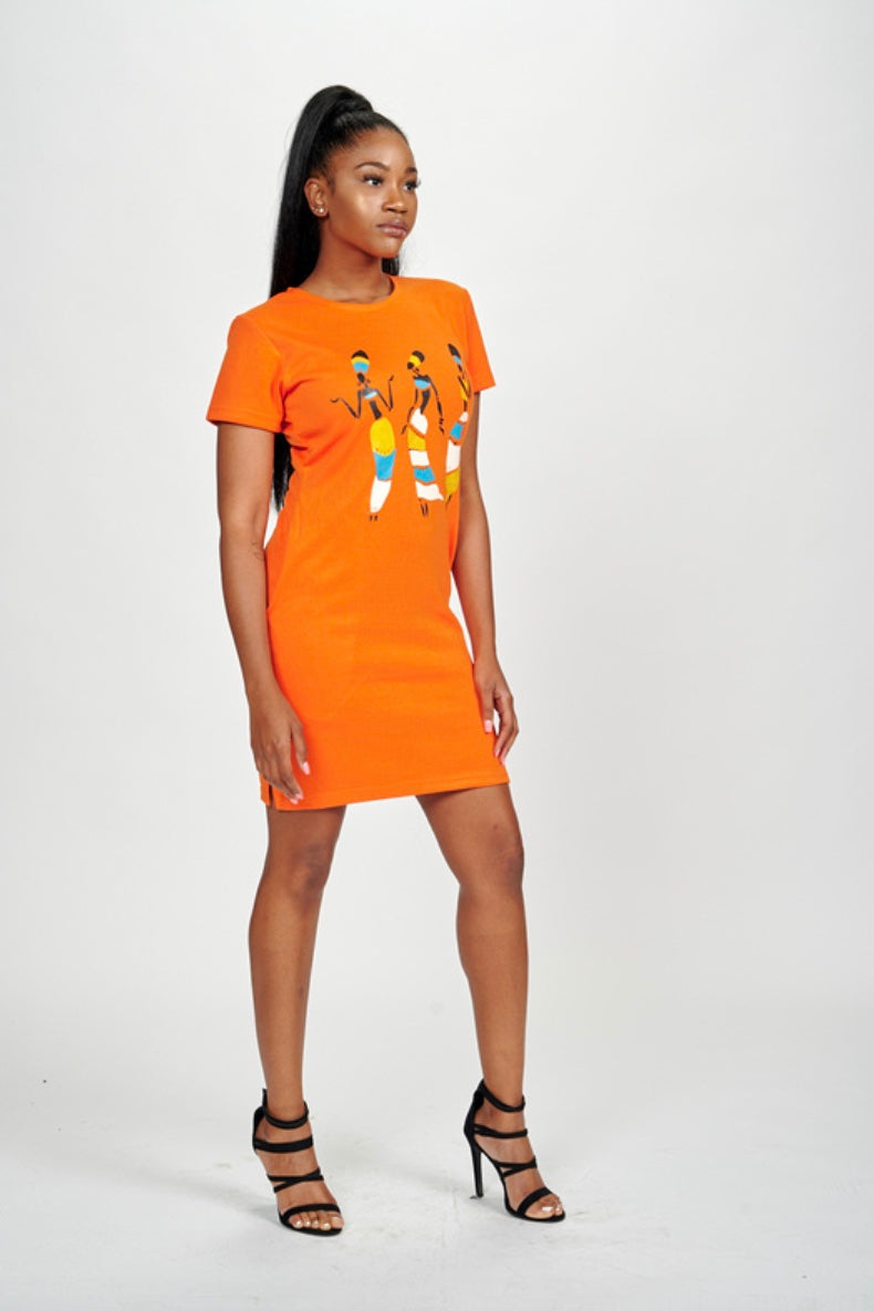 Tribal Dancing Ladies Tee Dress (Orange)
