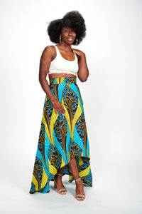Bolanle high-low African Print Skirt