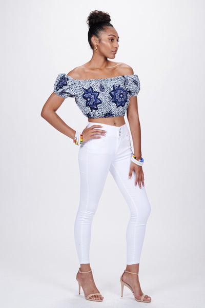 Jumoke African print Off Shoulder Cropped Top