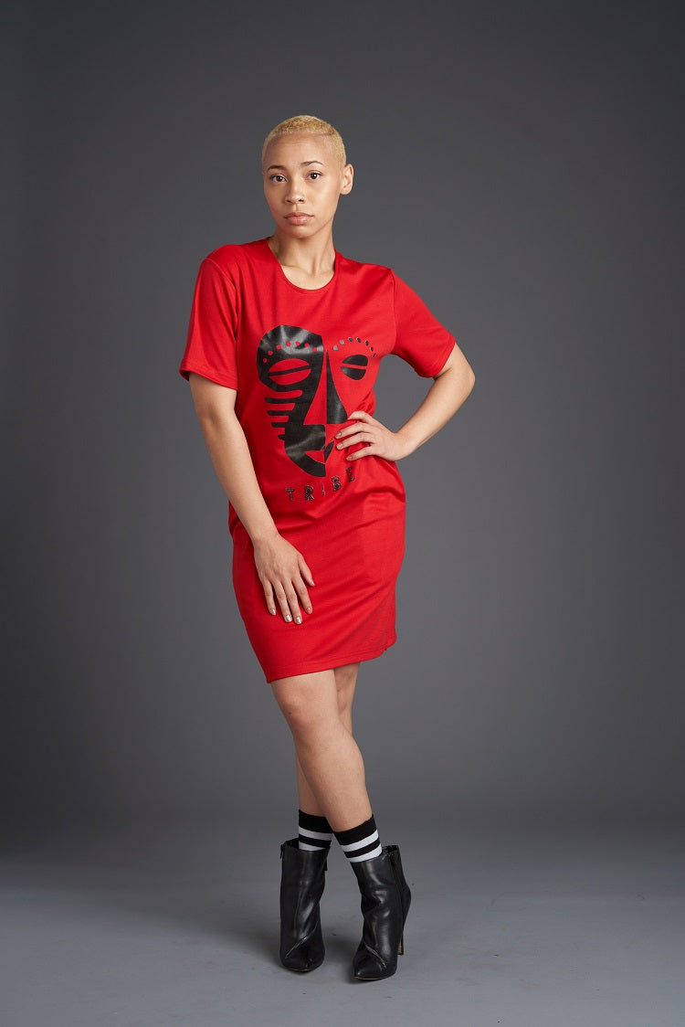 Tribal Faces Tee Dress (Red/Black)