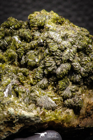 07916 - Slender Grass Green Epidote Crystals on Matrix Imilchil Mine Morocco