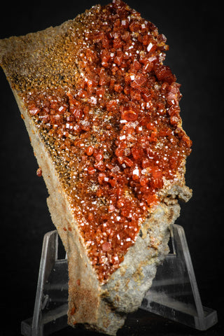 88130 -  Beautiful Red Vanadinite Crystals on Natural Manganese-Iron Oxide Matrix from Morocco