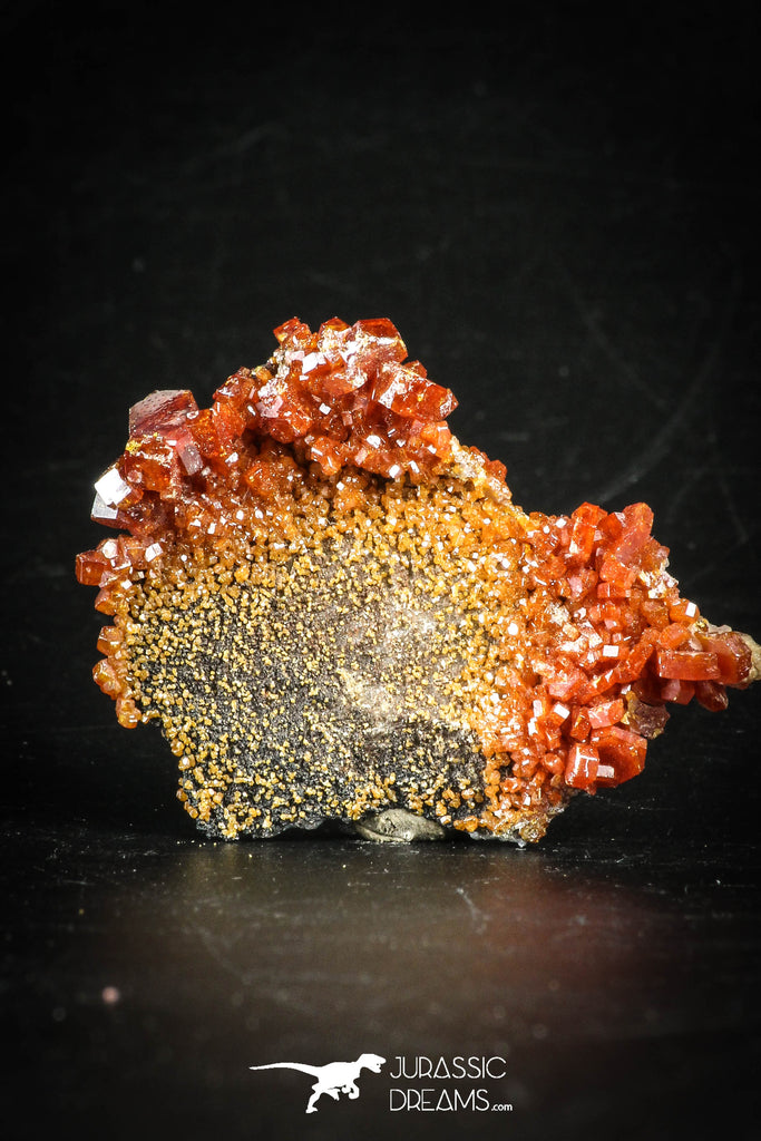88512 -  Beautiful Red Vanadinite Crystals on Natural Manganese-Iron Oxide Matrix from Morocco