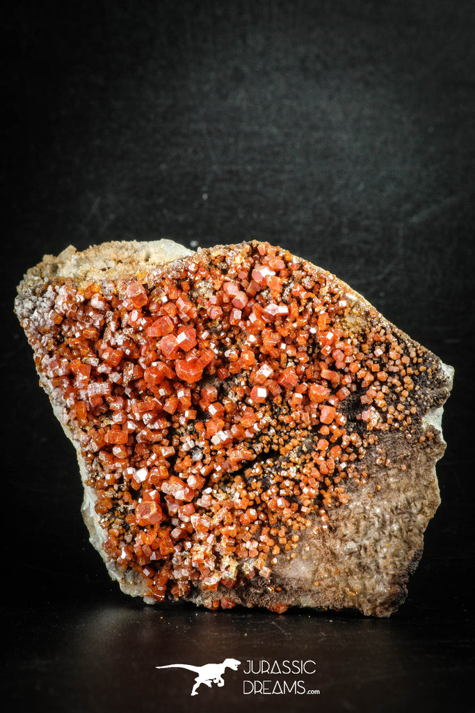 88515 -  Beautiful Red Vanadinite Crystals on Natural Manganese-Iron Oxide Matrix from Morocco