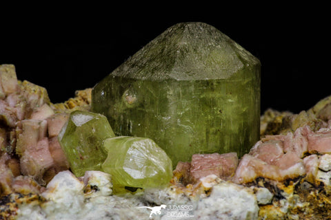 20864 - Lustrous Yellow Green Apatite Crystals on Feldspar Matrix - Imilchil (Morocco)