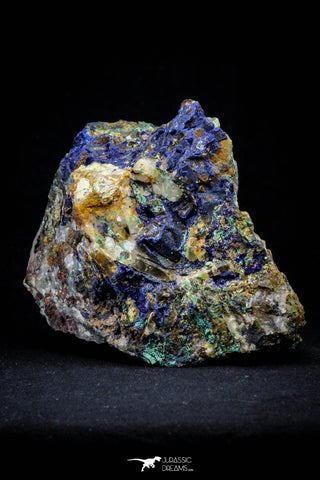 21196 - Beautiful Azurite Cristals + Malachite Cristals + Pyrite Crystals in Quartz Matrix - Alnif (South Morocco)