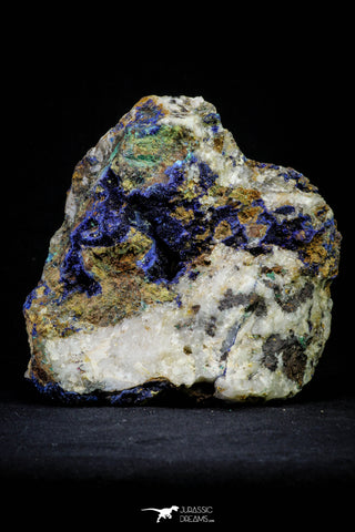 21197 - Beautiful Azurite Cristals + Malachite Cristals + Pyrite Crystals in Quartz Matrix - Alnif (South Morocco)