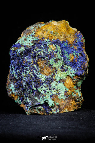 21199 - Beautiful Azurite Cristals + Malachite Cristals + Pyrite Crystals in Quartz Matrix - Alnif (South Morocco)
