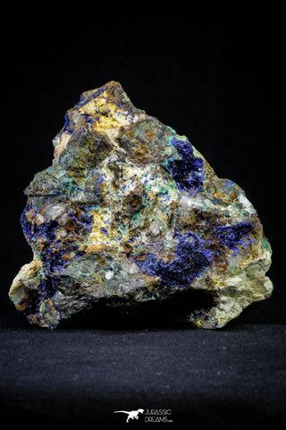 21200 - Beautiful Azurite Cristals + Malachite Cristals + Pyrite Crystals in Quartz Matrix - Alnif (South Morocco)