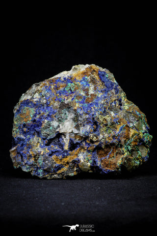 21201 - Beautiful Azurite Cristals + Malachite Cristals + Pyrite Crystals in Quartz Matrix - Alnif (South Morocco)