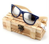 Polarized Bamboo Sunglasses (Blue Frame) w/ Box - ComeUpGear