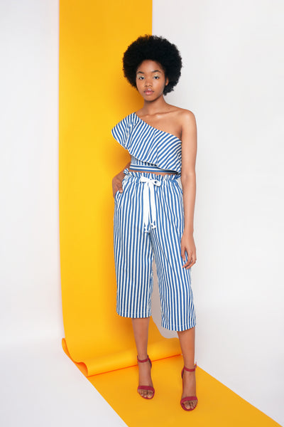 JACYNTHE TOP - NAVY & WHITE STRIPE